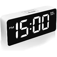 HOMVILLA Réveil numérique LED avec Fonction Snooze/luminosité réglable/Surface Miroir/Port de Charge USB/Réveil réveil…