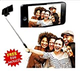 #5: Aux Wired Selfie Stick Handheld Monopod Extendable Fold Selfie Stick for Smartphones and Cameras with Shutter Controls Button on Handle with free stainless steel egg mould inside gift..