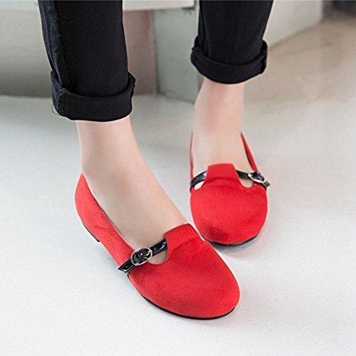 Razamaza Chaussures Ballerines Femmes Mode Slip On Fermé Boucle Rouge
