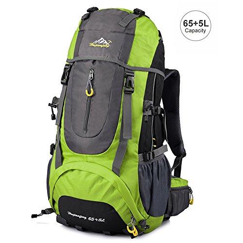 Imagen de vbiger  impermeable 65+5l per alpinista senderismo viajes verde