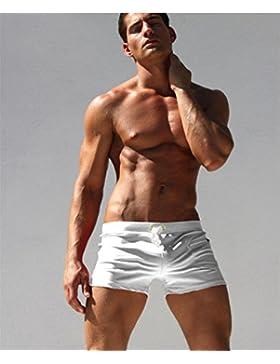 Lelefish hombres cortos de natación para los hombres blancos de secado rápido,gran número,XXL