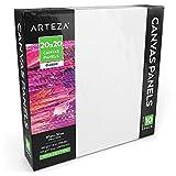 Arteza Paneles de lienzo para pintar cuadros | 20x20 cm | Pack de 10 | 100% algodón | Imprimación sin ácidos | Lienzos de pintura para profesionales, aficionados y principiantes