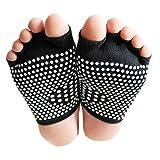 Art und Weise Baumwolle Semi Palme Zehe-Yoga-Socken Anti-Rutsch-Socken Schwarz