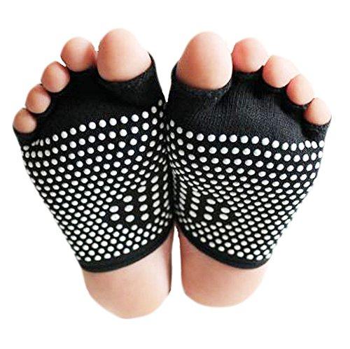 Black Temptation Art und Weise Baumwolle Semi Palme Zehe-Yoga-Socken Anti-Rutsch-Socken Schwarz -