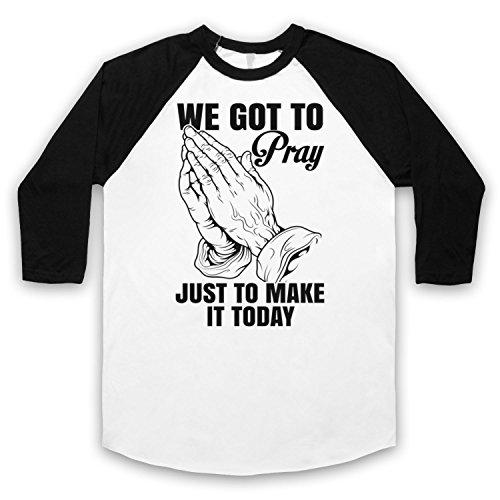 Inspiriert durch MC Hammer Pray Unofficial 3/4 Hulse Retro Baseball T-Shirt Weis & Schwarz