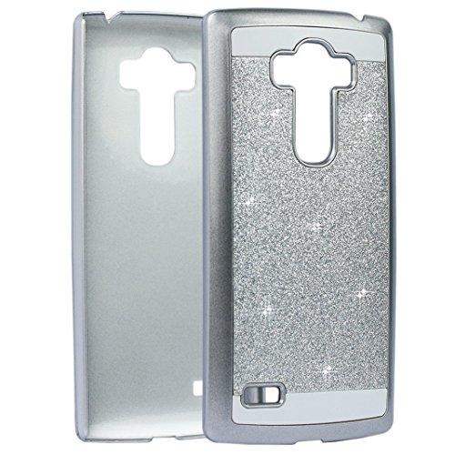 G4S PC Hülle, Asnlove Kristall Schutzhülle für LG G4S G4 Beat Bling Hart Schutz Etui Tasche Glitter Cover(Silber)
