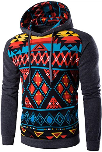 jeansian Herren Casual Ethnic Style Hooded Pullover Hoody Hoodies Sweatshirt Sports Top 88F5 Darkgray