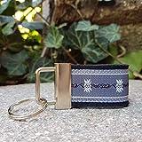 Schlüsselanhänger Taschenanhänger Filz schwarz Webband Edelweiß dunkelgrau weiß Geschenk!