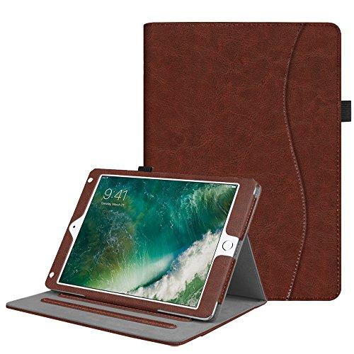 2018 2017 / iPad Air 2 / iPad Air Hülle - Multi-Winkel Betrachtung Folio Stand Schutzhülle Case Cover mit Dokumentschlitze, Auto Wake / Sleep für Apple iPad 9,7'' 2018 / 2017, iPad Air 1 / 2, Braun (Ipad Air-tastatur, Mit Lautsprecher)