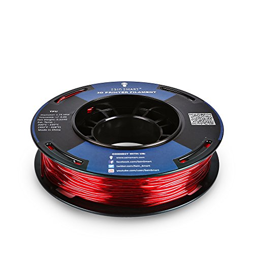 SainSmart 5 Packs Kleine Spule 1.75mm TPU Flexible 3D Filament 250g per Spool, Shore 95A, Weiß, Schwarz, Rot, Blau, Grün - 4