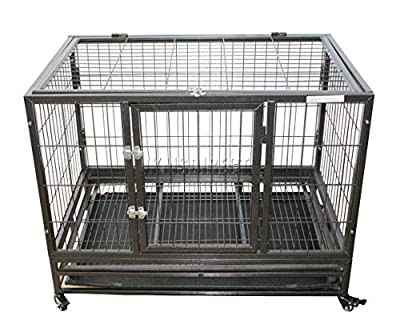 FoxHunter Heavy Duty Pet Dog Puppy Training Cage Crate Carrier Enclosure Metal With Metal Tray Wheels Hammered Silver MPC-02M from KMS