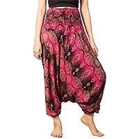 LOFBAZ Yoga Harem Pants for Women Boho Hippie Bohemian Clothing Womens Beach Indian Gypsy Clothes Genie Maternity Jumpsuit Oval Black & Pink S