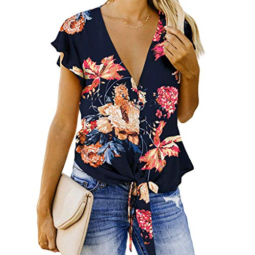 Tohole T-Shirt Damen V-Ausschnitt Solide Tunika Sommer Tops Damenhemden LäSsige Einfarbig Kurzarmshirt Loose Shirt UnregelmäßIge Saum Kurzarm Oberteil Schmales Strappy Blumig(blau,L)