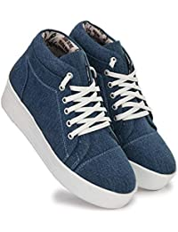 T STAR Women's Beautiful Classic Look Blue Denim Casual Heels Shoes