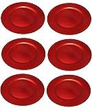 Platzteller Dekoteller 6 Stück Ø 33 cm rot Kunststoff