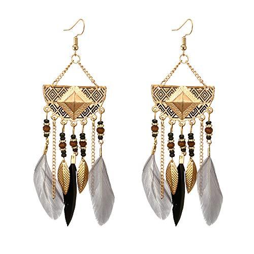 UINGKID Damen Ohrringe Mode Ohrstecker Vintage Frauen böhmische fächerförmige Perlen Quaste Feder -