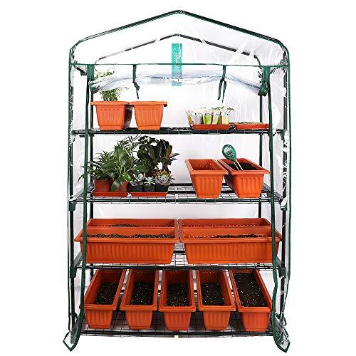 Worth Garden 102cm de Large Serre à 4 Niveaux avec bâche en PVC et Fermeture à glissière 160 x 102 x 49 cm HxLxP Maison de tomates à Serre Transparente