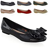 ESSEX GLAM New Womens Flat Pumps Slip On Bow Detail Loafers Ladies Ballet Ballerina Dolly Shoes