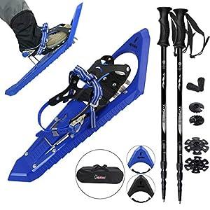 ALPIDEX Schneeschuhe mit Steighilfe, bissigen Frontzacken und inkl. Tragetasche – geeignet für Schuhgröße 38 bis 45 ; wahlweise mit oder ohne Stöcke erhältlich
