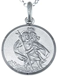 "Reversible Sterling Silver St Christopher Pendant Necklace with 18"" Chain & Jewellery Gift Box - 18mm"