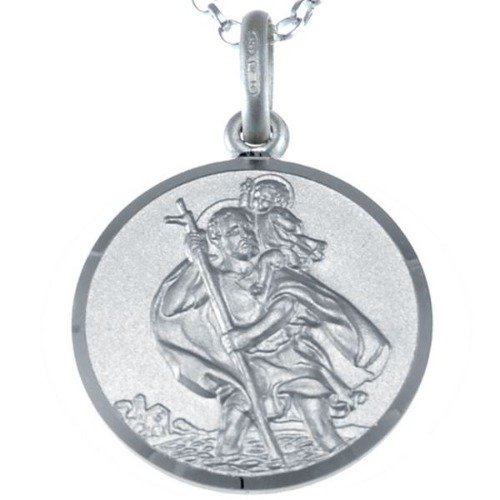 Reversible Sterling Silver St Christopher Pendant Necklace with 18″ Chain & Jewellery Gift Box – 18mm
