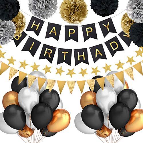 (Grebarley Geburtstagsdeko,Geburtstag Dekoration für Jungs,Happy Birthday Dekoration Kindergeburtstag Deko,9 Papier Pom Poms, 30Latex Ballons, 1 Happy Birthday Banner,100 Klebepunkte (Schwarz))