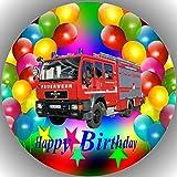 LL Feuerwehr Happy Birthday Fondant Tortenaufleger Tortenaufleger Tortenbild Geburtstag T1