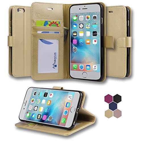 iPhone 6 Plus / iPhone 6S Plus Hülle, Abacus24-7 Premium Leder Tasche, Brieftasche mit Standfunktion und Kartenfächer, Handyhülle für iPhone 6 / iPhone6+ - Gold