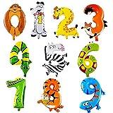 XUNKE 10PCS Número Animales Globos de Helio para Cumpleaños Fiesta de Bienvenida al Bebé para niños Fiesta de cumpleaños Decoración Animal Balloon, Party Animal Globo inflado para niños Birthday