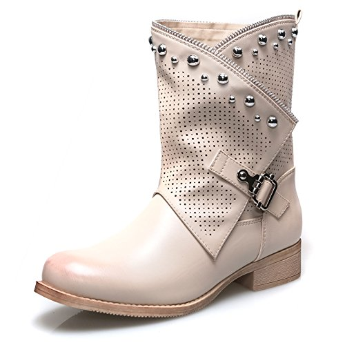 Mforshop scarpe donne stivaletti stivaletto tronchetto estivo traforato eco pelle g339 - beige, 38