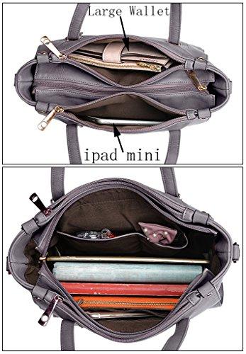 UTO Damen Handtasche Set 2 Stücke Tasche PU Leder Shopper Schultertasche Geldbörse Gurt grau grau