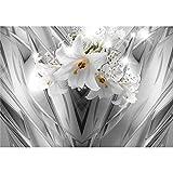decomonkey | Fototapete Blumen Lilien 3d Effekt 350x256 cm XL | Tapete | Wandbild | Wandbild | Bild | Fototapeten | Tapeten | Wandtapete | Wanddeko | Wandtapete | Weiß Abstrakt