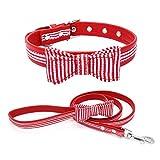 TFENG FENG Halsband für Hunde und Katzen, Classic Soft Weich Baumwolle Einstellbare Katzenhalsband Welpen Hunde Halsband (Rot Streifen,M)