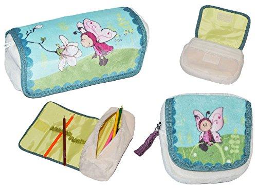 2 tlg. Set: Schmetterling - Geldbörse / Portemonnaie + Federmappe / Stifteetui - aus weichen Plüsch - Utensilientasche - für Kinder u. Erwachsene - Utensilio Schmetterlinge - kleines Etui