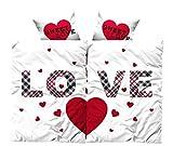 Leonado Vicenti 4 teilige Bettwäsche Microfaser Partnerbettwäsche 135x200 cm Herz Love weiß rot mit Reißverschluss
