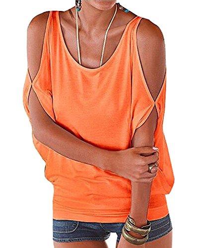 Mangotree Oberteile Kurzarm Batwing T-Shirt Tops Damen Schulterfreies Bluse Tunika Tanktop (XL: 42/44, Orange)