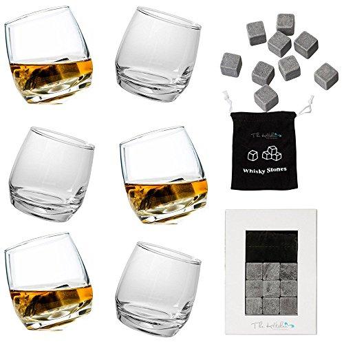 6 Verres à Whisky à bascule Sagaform + 9 pierres à whisky Barre – Idéal Cadeau pour les amateurs de Whisky