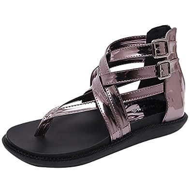 Oasap Women's Open Toe Buckle Flat Thong Gladiator Sandals, Grey EURO40/US9/UK7