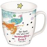 Gruss und Co 45645 Tasse mit Meerjungfrau, Fräulein Meer, Kaffee-Tasse, Porzellan, mit Geschenk-Anhänger, 40 cl