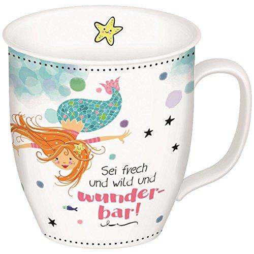 Gruss und Co 45645 Tasse mit Meerjungfrau, Fräulein Meer, Kaffee-Tasse, Porzellan, mit Geschenk-Anhänger, 40 cl Fraulein Mädchen