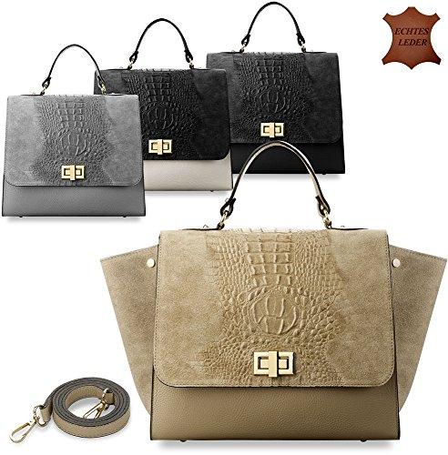 stilvolle Damentasche Handtasche Bowlingbag made in Italy 100% Naturleder Kroko - Muster (weiß/schwarz) beige