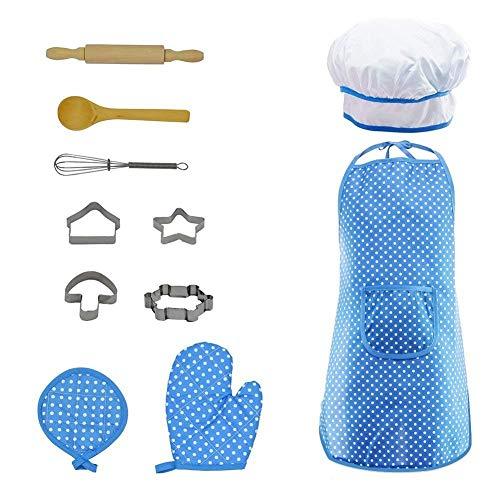 MING Kinder Kochen Spielset, Kinderschürzen Küche Kochrolle Rollenspiel Kostüm 11 Stück Spielset für Mädchen Geschenke (Blue)