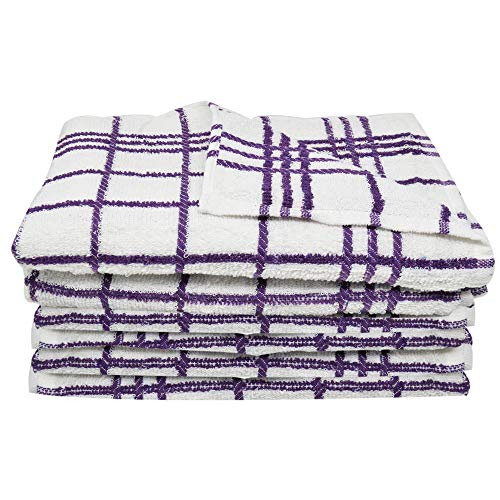 Xelay Pack of 6 Purple Tea Towels 100% Cotton Wonderdry Highly Absorbent, Thick and Lint-free Kitchen Towels (60 x 40cm)