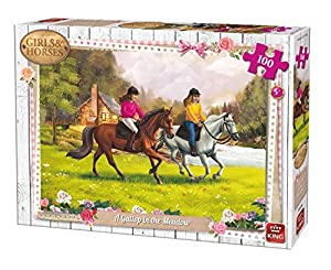 King Girls & Horses A Gallop in The Meadow 100 pcs Puzzle - Rompecabezas (Puzzle Rompecabezas, Dibujos, Niños, Chica, 5 año(s), Cartón)