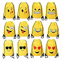 Mydio 12 Pack 13.5 Inch x 16.7 Inch Assorted Emoticon Party Favors Drawstring Backpacks,1 Dozen