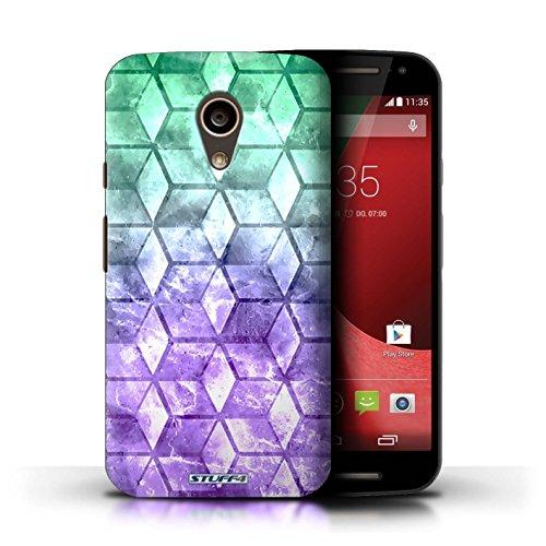 Kobalt® Imprimé Etui / Coque pour Motorola Moto G (2014) / Bleu/rose conception / Série Cubes colorés Vert/Violet