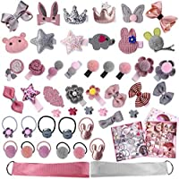 36 PCS Hair Clips Set for Little Girls,Hair Rops Barrettes,Baby Girls Hair Accessories Gift Set Hairpins Bows Ties Toddlers Barrettes Head Ornaments Set for Birthday Children