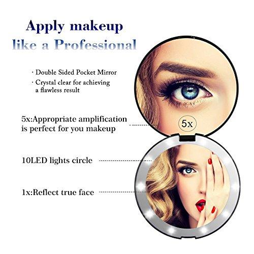 55aa0be2c Características de NaCot Espejo de Bolsillo Compacto Iluminado LED para  Maquillaje Aumento de 1X/5X Gran Espejo Plegable con LED de Iluminación  Natural ...