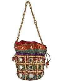 Hanumant Creations Traditional Rajasthani Handicraft Potli Bag, Multicolor HCHB045