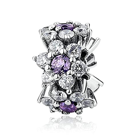 Fit Pandora Charms Forget Me Not Purple Daisy Flower 925 sterling silver